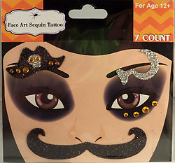 Rhinestone & Glitter Pirate Hat & Sickle Face Art Kit