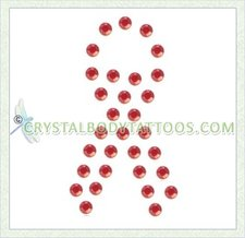 Swarovski Red AIDS Ribbon Crystal Body Tattoo