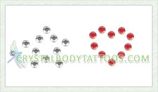 Swarovski Clear Small Star and Red Small Heart Crystal Tattoo
