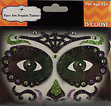 Rhinestone & Glitter Day of the Dead Green & Purple Sugar Skull Face Art Kit