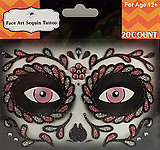 Rhinestone & Glitter Day of the Dead Pink & Black Sugar Skull Face Art Kit