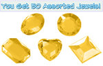 Set of 50 1/2 inch Topaz Plastic Jewels with Adhesive